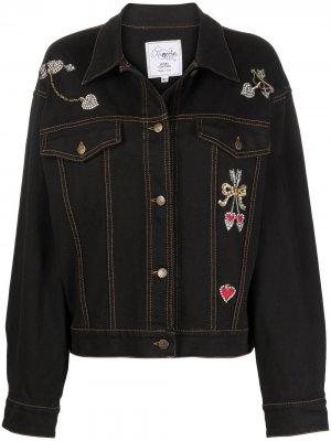 Декорированная джинсовая куртка 1990-х годов A.N.G.E.L.O. Vintage Cult. Цвет: черный