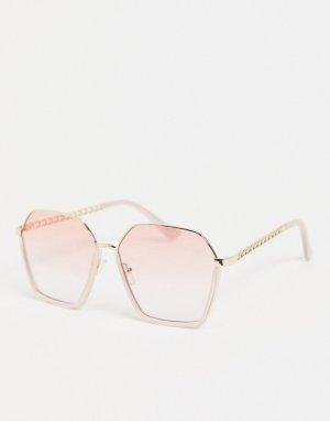 Женские квадратные солнцезащитные очки в розовой оправе -Розовый цвет Jeepers Peepers