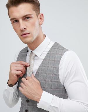 Серый жилет в клетку wedding Burton Menswear
