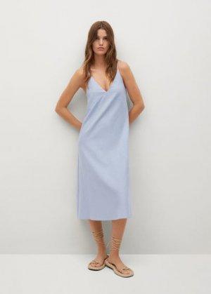 Миди-платье из хлопка - Naturel-h Mango. Цвет: небесно-голубой