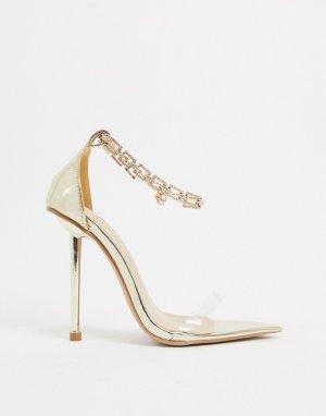 Золотистые босоножки на каблуке с браслетом Simmi-Золотой SIMMI Shoes