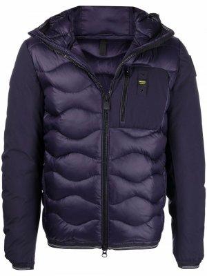 Стеганая куртка с капюшоном Blauer. Цвет: синий