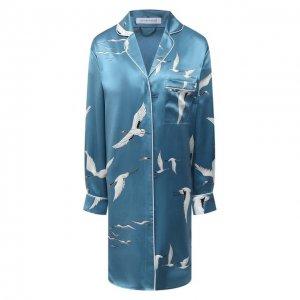 Шелковая сорочка Olivia Von Halle. Цвет: синий