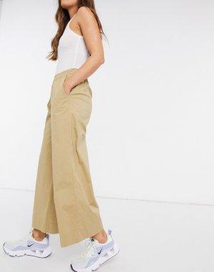 Бежевые брюки с широкими штанинами и завышенной талией Ellie-Бежевый Just Female