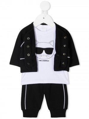 Спортивный костюм с принтом Choupette Karl Lagerfeld Kids. Цвет: черный