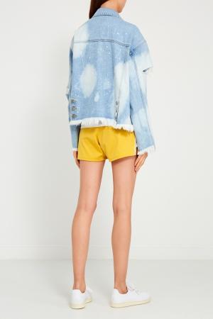 Джинсовая куртка с разрезами SJYP. Цвет: голубой