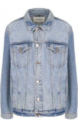 Джинсовая куртка свободного кроя с потертостями Frame Denim. Цвет: голубой