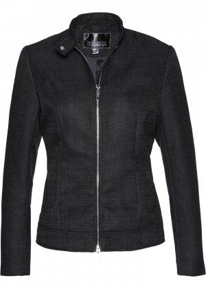 Куртка из материала букле, байкерский дизайн bonprix. Цвет: черный