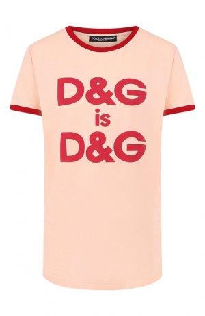 Хлопковая футболка Dolce & Gabbana. Цвет: светло-розовый
