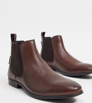 Коричневые кожаные ботинки челси Wide Fit-Черный Ben Sherman