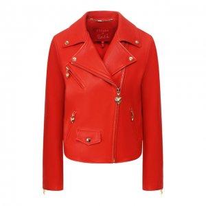 Кожаная куртка Escada Sport. Цвет: красный