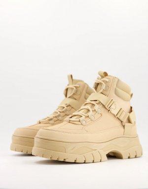 Светло-бежевые ботинки из искусственной кожи на массивной подошве со шнуровкой -Светло-бежевый ASOS DESIGN