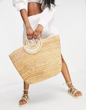 Соломенная пляжная сумка естественного оттенка -Светло-бежевый Pieces
