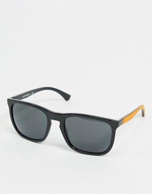 Черные солнцезащитные очки с красными заушниками -Черный Emporio Armani