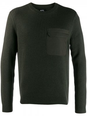 Трикотажный свитер с накладным карманом A.P.C.. Цвет: зеленый
