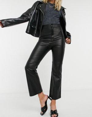 Черные укороченные брюки из искусственной кожи -Черный Free People