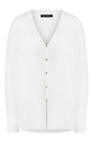Шелковая блузка St. John. Цвет: белый