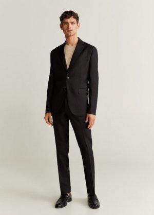 Костюмный пиджак slim fit изо льна - Florida-i Mango. Цвет: черный