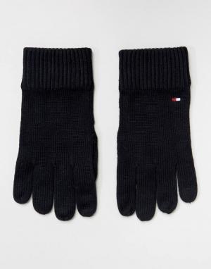 Черные перчатки на основе хлопка пима Tommy Hilfiger. Цвет: черный