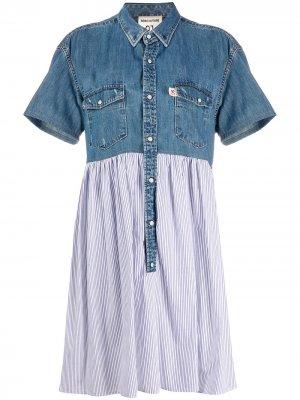 Платье-рубашка с джинсовой вставкой Semicouture. Цвет: синий