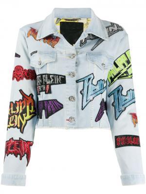 Джинсовая куртка с нашивкой-логотипом Philipp Plein. Цвет: синий