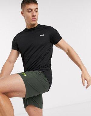 Черная длинная спортивная футболка с закругленным подолом -Черный ASOS 4505