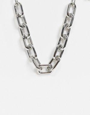 Серебристое массивное ожерелье-цепочка -Серебристый Pieces