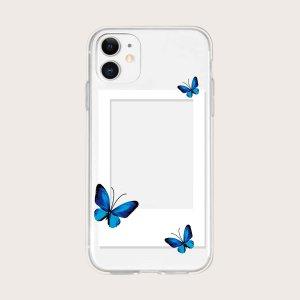 Чехол для телефона с узором фоторамки и принтом бабочки SHEIN. Цвет: прозрачный