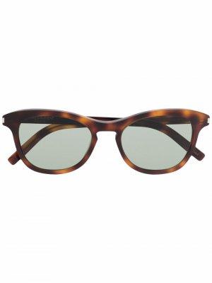 Солнцезащитные очки черепаховой расцветки Saint Laurent Eyewear. Цвет: коричневый