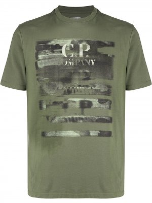 Distressed logo T-shirt CP Company. Цвет: зеленый