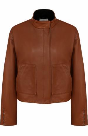 Кожаная куртка свободного кроя с воротником-стойкой 3.1 Phillip Lim. Цвет: коричневый