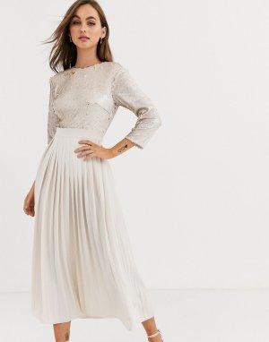 Платье мидакси с отделкой пайетками и плиссировкой -Белый Little Mistress