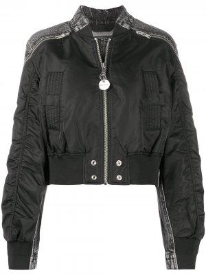Куртка-бомбер со вставками из денима Diesel. Цвет: черный