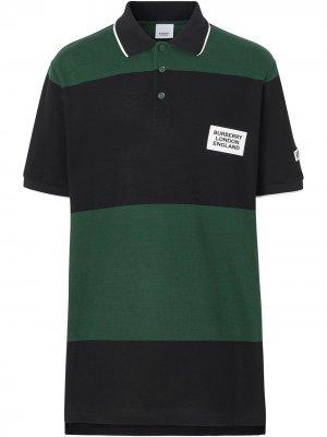 Рубашка-поло в стиле колор-блок с логотипом Burberry. Цвет: зеленый