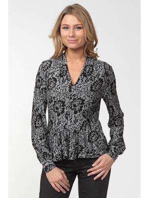 Блузка LISSA. Цвет: черный, светло-серый