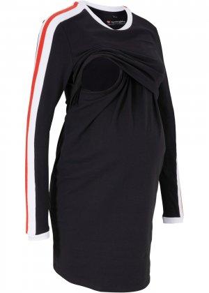 Платье из биохлопка для беременных bonprix. Цвет: черный
