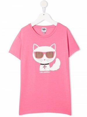 TEEN Choupette cotton T-shirt Karl Lagerfeld Kids. Цвет: розовый
