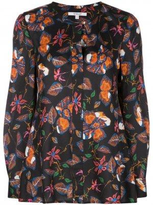 Блузка с длинными рукавами и цветочным принтом Derek Lam 10 Crosby. Цвет: черный