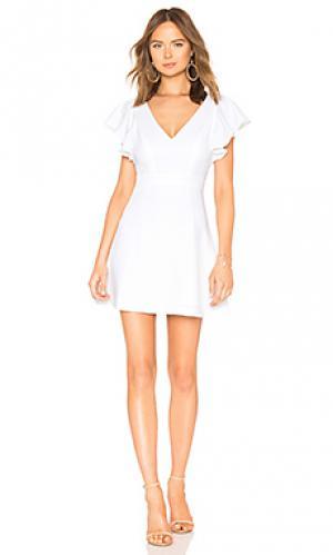 Платье с глубоким v-вырезом присборенным рукавом BCBGeneration. Цвет: белый