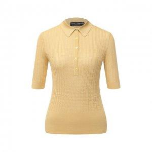 Шелковое поло Dolce & Gabbana. Цвет: жёлтый