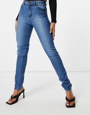 Черные выбеленные джинсы прямого кроя с рваной отделкой на ягодицах -Голубой Femme Luxe