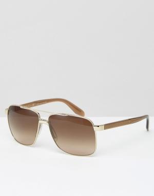 Солнцезащитные очки-авиаторы в квадратной оправе Versace. Цвет: золотой