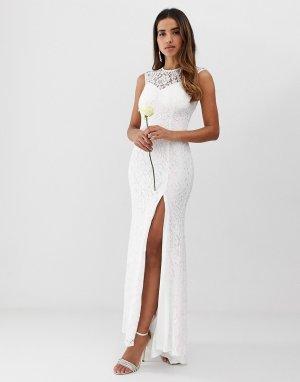 Кружевное свадебное платье с разрезом до бедра Club L-Белый L London