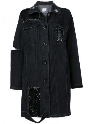 Оверсайз-куртка с отделкой SJYP. Цвет: чёрный