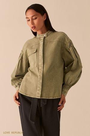 Джинсовая куртка цвета хаки в стиле милитари LOVE REPUBLIC