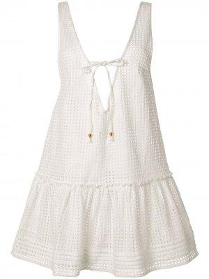Кружевное платье Edie с оборками Suboo. Цвет: белый