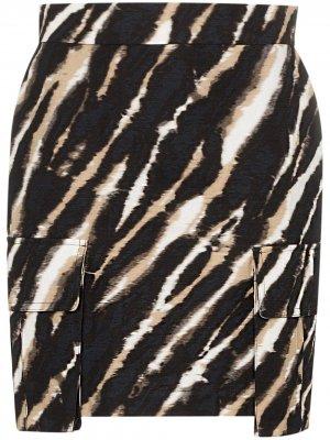 Юбка мини с принтом тай-дай и зебровым узором House of Holland. Цвет: zebra (черный/white)