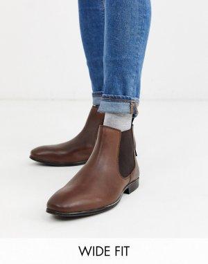 Коричневые кожаные ботинки челси для широкой стопы -Коричневый Ben Sherman