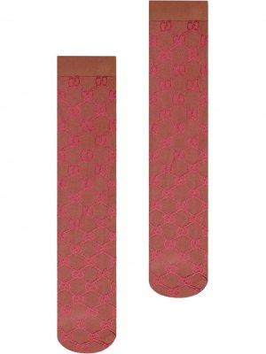 Гольфы с узором GG Gucci. Цвет: красный