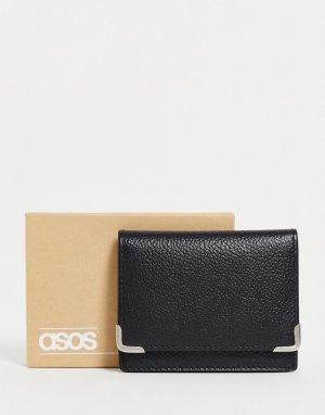 Складная кожаная кредитница черного цвета с металлическими уголками -Черный цвет ASOS DESIGN